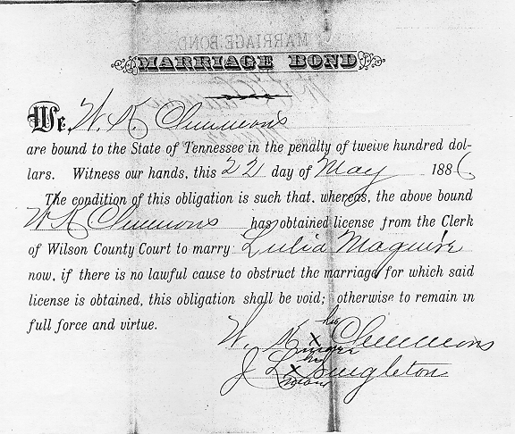 William Keaton and Nancy McGuire Clemmons Marriage Bond